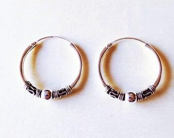 Bali Hoop Earrings, Sterling Silver Hoops,For her