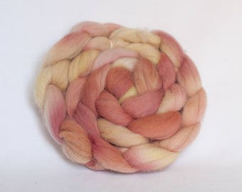 Organic wool hand dyed with natural plant dyes - combed top for hand spinning - roving