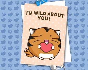 Im Wild About You Valentine's Card Tiger Hear Love Girlfriend Anniversary boyfriend husband wife Kawaii Love Fuzzballs Greeting Relationship