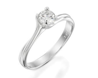 Natural Diamond Ring Solitaire Carat 020 Engagement Wedding Twist