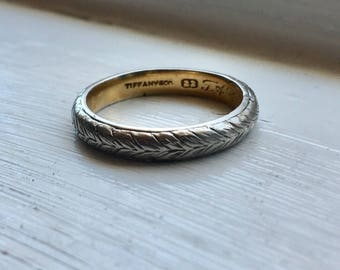 Antique Tiffany and Co Platinum and 22K Gold Engraved Wedding Band size 5.25