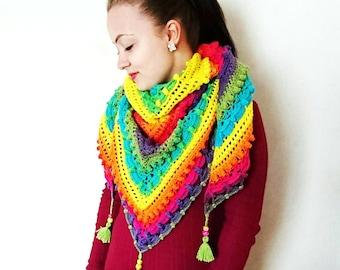 Crochet shawl MADE TO ORDER colourwheel lost in time mijocrochet festival fashion rainbow pride