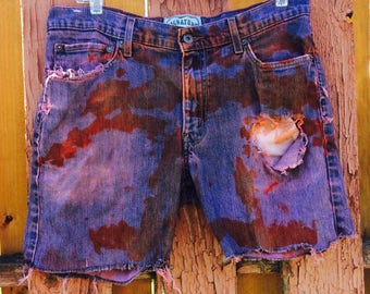 Purple And Pink Dyed Levis Denim Cuttoff Shorts Size 35