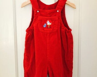 Vintage Boys Overalls Size 12-18 Months 74 cm Vintage Boy Clothes, Red Overalls United Colors of Benetton, Vintage Toddler Boy Clothes