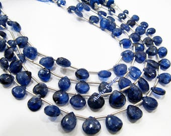 AAA Best Quality Genuine Blue Sapphire Briolette Beads 6 to 10mm , Natural Blue Sapphire Heart Shape Beads , Strand 8 inches- Side Drilled.