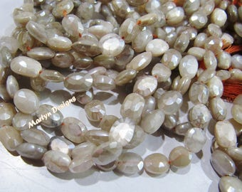 Best Quality Natural Peach Moonstone Beads , Oval Faceted Mystic AB Coated Peach Moonstone Beads 10 to 12 mm , Strand 13 inches long.