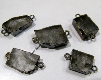 SALE- Natural Black Rutilated Quartz Slice Connector Free Form , Charm Pendant With Black Oxidized Edge , Double Loop 1 inches approximately