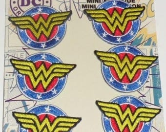"6 DC Comics WONDER WOMAN Shield Embroidered iron on Patch 2"" New set of 6"