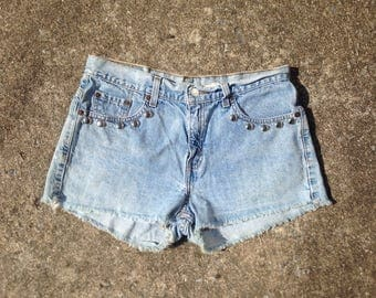 Vintage Levis Denim Cutoff Hand Studded Shorts