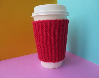 Red Coffee Cup Sleeve | Hand Knit Cup Cosy | Fits Starbucks Cup | Gifts For Her | Stocking Fillers | Tea Cosy | Knit Coffee Cosy