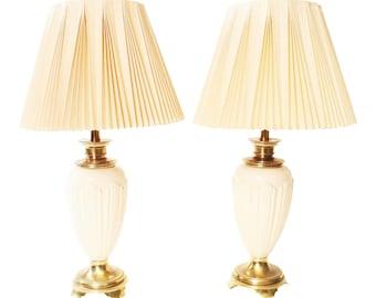 Vintage Stiffel Ceramic TABLE LAMP PAIR W Shades Hollywood Regency Mid Century Modern Gold Designer Living