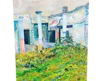 Vintage OIL PAINTING Italian Landscape mid century modern signed listed artist Lucille Cohn New York white italy ruins stone european scene