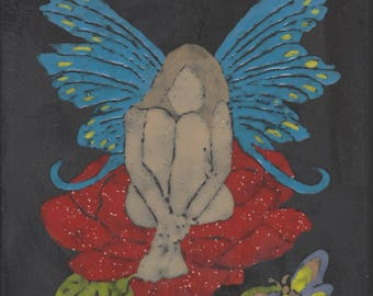 Fairy #403 Hand Painted Kiln Fired Decorative Ceramic Wall Art Tile 8 x 8