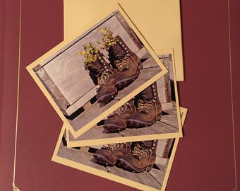 Boots & Flowers Cards (3-pk blank greeting cards)