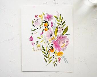 Custom Botanical Silhouette Portrait
