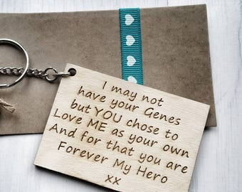Step Dad I may not have your Genes chose  Love Me as your own  Forever my Hero keychain Engraved Keyring father Fathers Day Gift present dna