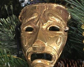 Mardi Gras Masquerade Mask ornament, Vintage Brass with hanger