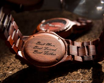 UD Mens Wooden Watch Wood Watch Personalized Watch Birthday Gifts for Boyfriend Anniversary Gifts for Him Groom Gifts Idea Groomsmen Gifts