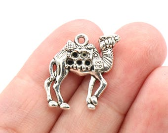 4 Pcs Camel Charms Antique Silver Tone 2 Sided 21x24mm - YD2265