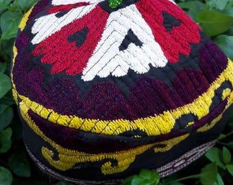Traditional Vintage Uzbek Headwear ,Duppi cap, Skullcap.