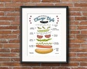 Chicago Hot Dog - Printable Wall Art - 8x10 Print