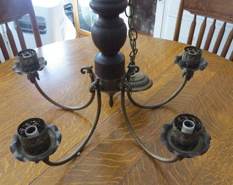 Vintage Underwriters Laboratories Inc. Brass Wood 5-Armed Chandelier Light Fixture Ceiling Mounted