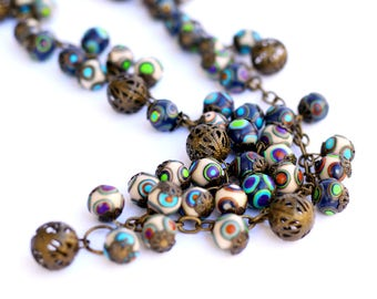 Bohemian necklaces Long Necklace for women Blue Beaded necklace Handmade Bead necklace Colorful clay beads Beaded jewelry Fashion jewelry