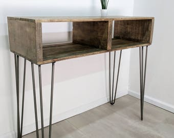 reclaimed timber entryway table turvas in light oak sideboard bar table with vintage hairpin