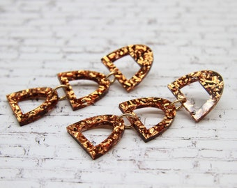 Archie Laser Cut Acrylic Arch Drop Earrings in Chunky Copper
