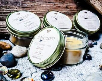 Set of 4 100% Pure Beeswax 3oz jar candle. Natural Honey, Heilala Vanilla, Ceylon Cinnamon and Lemon Eucalyptus Scent.