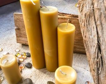 Set of 3 beeswax pillar candles-100% Pure Organic Beeswax pillar candles scented or unscented-Organic Beeswax pillar candles gift set