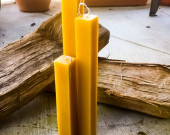 "Organic beeswax square pillar candles-set of 3 unique square 1"" wide pillars-square pure beeswax pillar candles-set of 3 unique pillars"