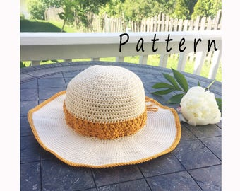Crochet Pattern sun hat,Crochet summer hat pattern,floppy hat,beach hat pattern,crochet sun hat,wide brim hat,instant PDF download,brim hat