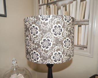 Lampshade antique flowers on black background