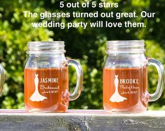 14 Mason Jar Glasses, Wedding Mason Jars,  Monogrammed Bridal Party Gifts, Rustic Wedding Centerpiece, Wedding Decor, Wedding Party