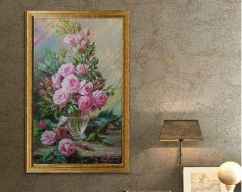 Rose flower painting still life painting Flower bouquet oil painting canvas art Gift for her Wedding gift Floral wall art decor for bedroom