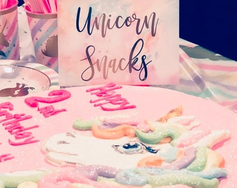 Unicorn Snacks Sign, Gold Foil Birthday Party Sign, Unicorn Birthday Party