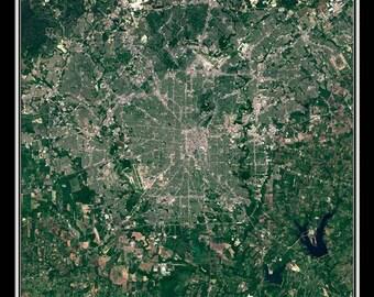 San Antonio Texas Satellite Poster Map