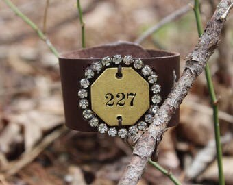 Leather Cuff with Vintage Brooch and Mailbox Plate