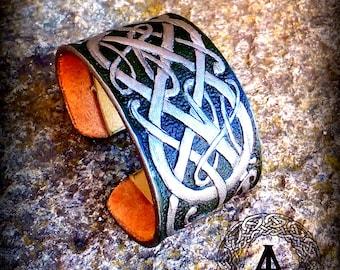 Viking Green/Silver Leather Cuff