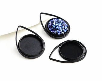 10pcs, 12mm Hand Painted Jet Black Cabochon Pendant Charm Settings - Cabochons Blanks - DIY Necklaces - Jewelry Findings - Wholesale Supply