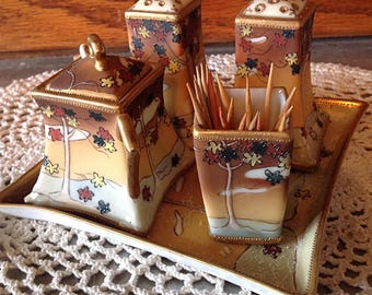 Vintage Nippon Salt & Pepper Handpainted set