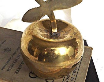 ON SALE Brass Apple, Keepsake Holder, Trinket Box, Retro Brass, Teachers Gift, Solid Brass
