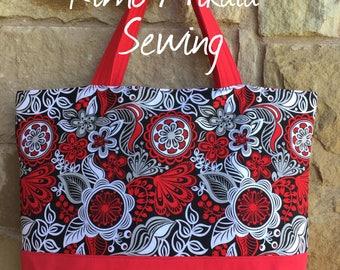 Embroidered Aloha Hawaiian Tote Bag, Beach Bag, Travel Tote
