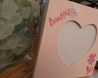 Pink Heart Photo Frame; Square-cut Wood, Custom Made Valentine Gifts