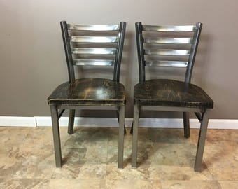 Reclaimed Dining Chair| Set of 3 | In Gun Metal Gray Metal Finish | Ladder Back Metal | Restaurant Grade -18 Inch High Dining Chair
