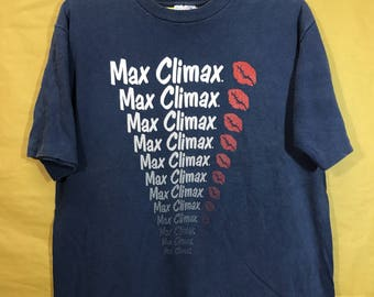 Early 90s Vintage MAX CLIMAX Lips Adult Large Size T-shirt Band Skate Skateboarding