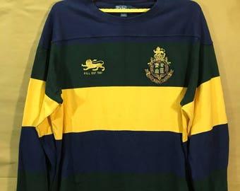 "Vintage Polo Ralph Lauren PRL Multicolor Color Block Long Sleeves T-shirt Oversize Adult XL Chest 27"""