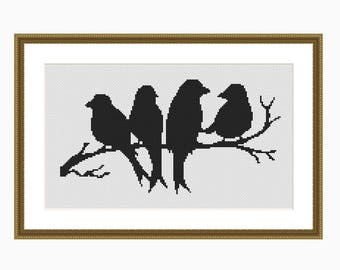 BIRD SILHOUETTE, Modern Cross Stitch Pattern, Downloadable Cross Stitch Chart PDF