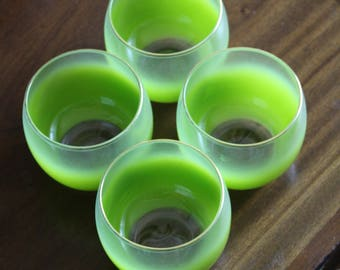 Set of 4 Blendo Lime Green Roly Poly Glasses